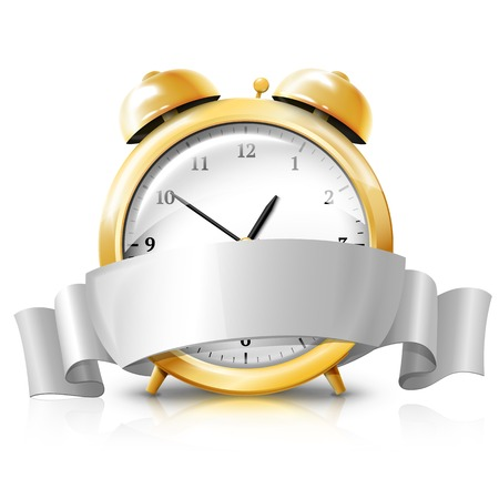countdown timer: Golden alarm clock with silver white banner