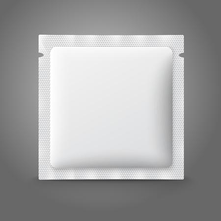 condoms: Blank white plastic sachet for medicine, condoms, drugs, coffee, sugar, salt, spices. Vector