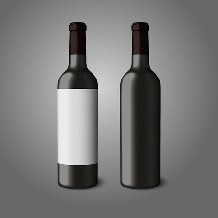 Two blank black realistic bottles for red wine isolated on grey background. Vector