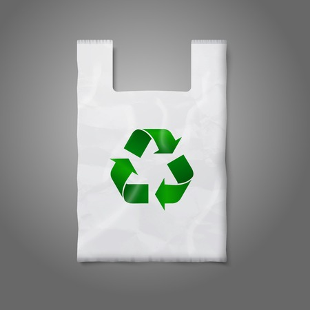 carry bag: Blank white plastic bag with green recycling sign, isolated on grey