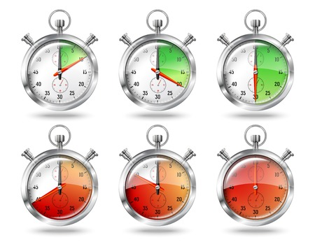 stop time: Set of silver bright stopwatch clock intervals, isolated on white background