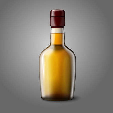 whiskey bottle: En blanco botella de whisky realista aislado sobre fondo gris