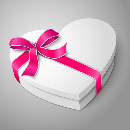 bowknot: realistic blank white heart shape box with pink ribbon and bow-knot isolated on gray background. Illustration