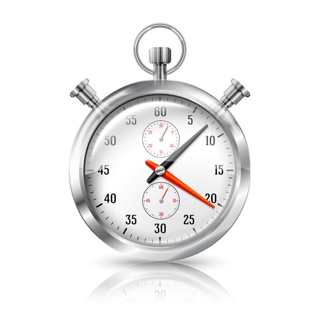 elapsed: Silver bright stopwatch clock with reflection, isolated on white background Illustration