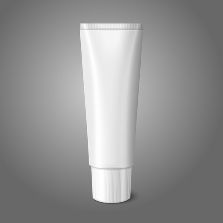 Blank white realistic tube for toothpaste, lotion, cosmetics, medicine creme etc. isolated on grey background