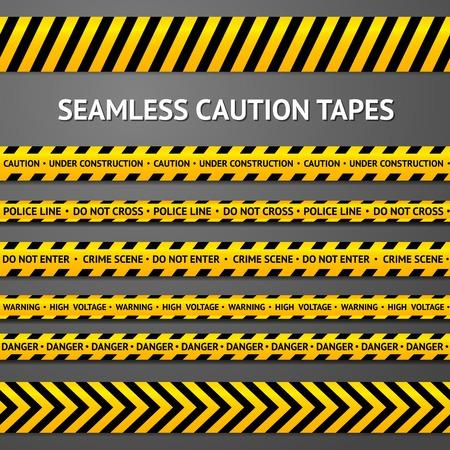 crime scene: Conjunto de cintas de precaución sin costuras negras y amarillas con diferentes signos. La policía de línea, escena del crimen, de alto voltaje, no se cruzan, en construcción, etc. Vectores