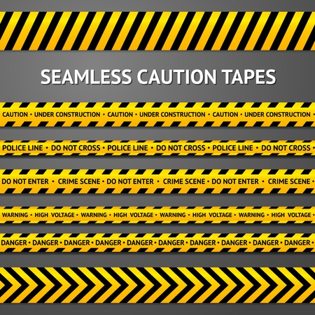 Set of black and yellow seamless caution tapes with different signs. Police line, crime scene, high voltage, do not cross, under construction etc. Stock Illustratie