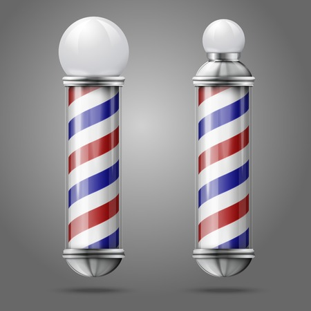 barber: Two different old fashioned vintage silver glass barber shop poles with red, blue and white stripes.