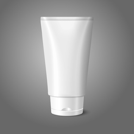 sunscreen: Blank white realistic tube for cosmetics, cream, ointment, toothpaste, lotion, medicine creme etc. Illustration