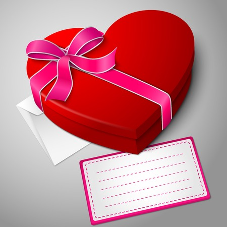 chocolate box: Realistic blank bright red heart shape box with ribbon, envelope and message card. Illustration