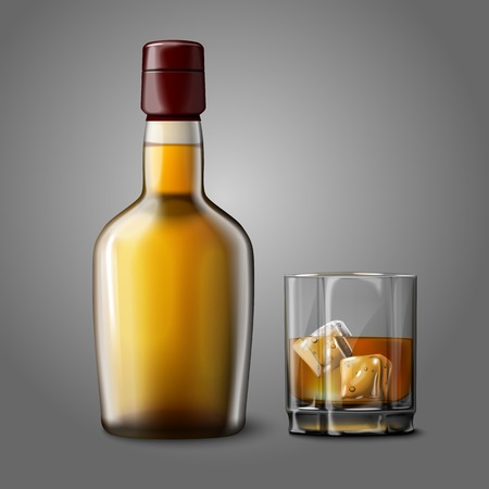 bourbon: Blank realistic bottle with glass of whiskey and ice, isolated.