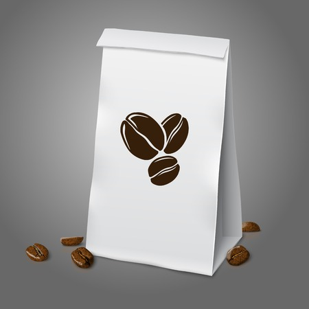 coffee sack: Blank white vector realistic paper packaging coffee bag with beans. Isolated