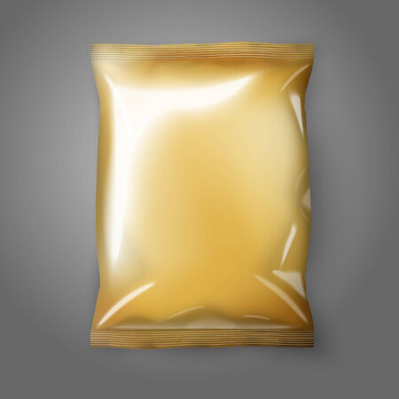 pouch: Blank golden realistic foil snack pack isolated. Vector illustration