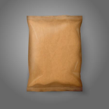 Blank realistische Kraftpapier Snack Pack auf grauem Hintergrund mit Platz für Ihr Design und Branding. Vektor Standard-Bild - 34600418