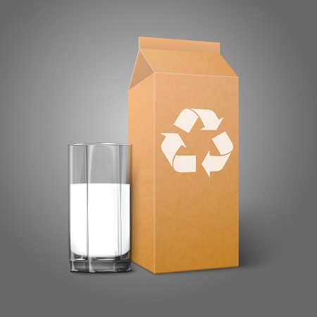 commercial recycling: Realistic blank craft paper package with recycle sign and glass for milk, juice, cocktail etc. Vector