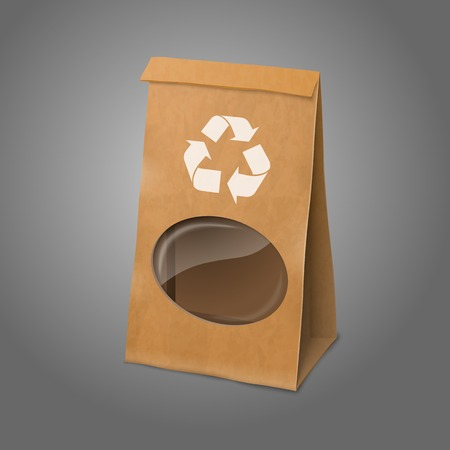 Blank craft vector realistic paper packaging bag with recycle sign and transparent window. Vector