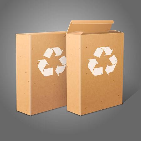 produits céréaliers: Deux paquets vides réalistes de papier kraft pour cornflakes, muesli, des céréales etc. isolées sur fond gris avec un signe de recyclage. Vecteur