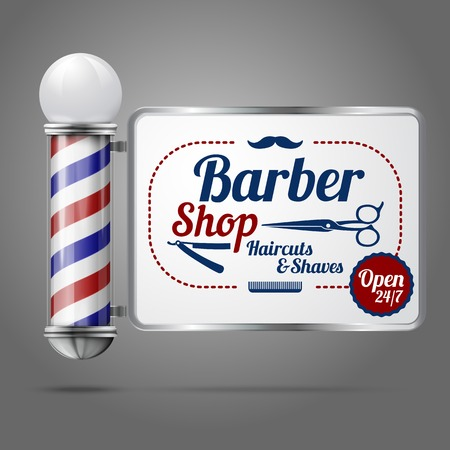 Realistic vector - old fashioned vintage silver and glass barber shop pole with Barber Sign. Vettoriali