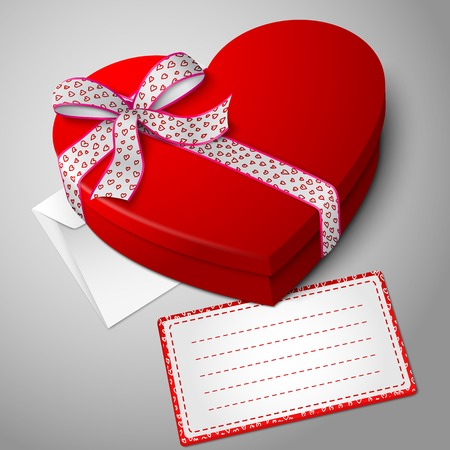 the valentine day: Vector realistic blank bright red heart shape box, with envelope and message card for your text.