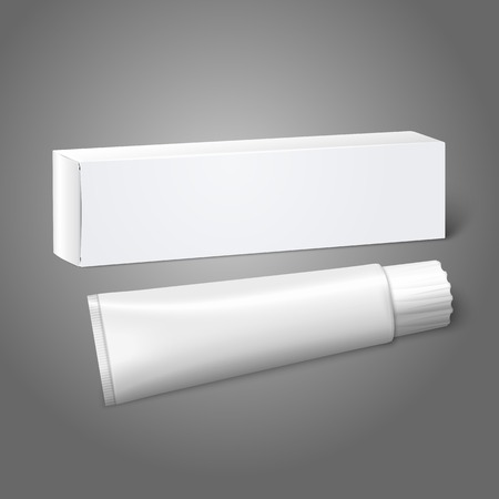 Realistic white blank paper package box with tube for oblong stuff - toothpaste, cosmetics, medicine etc. Vector Illustration