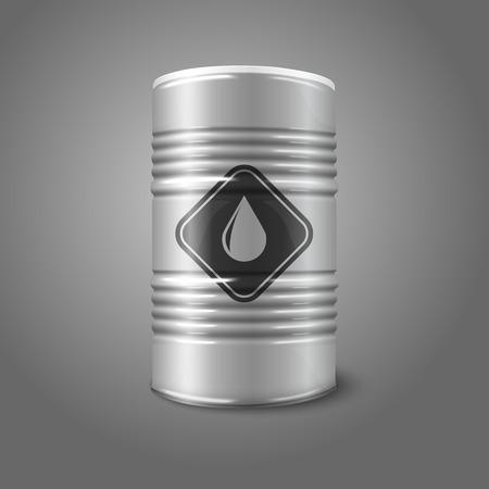 toxic barrels: Vector realista gran barril de petr�leo con signo, aislado sobre fondo gris.