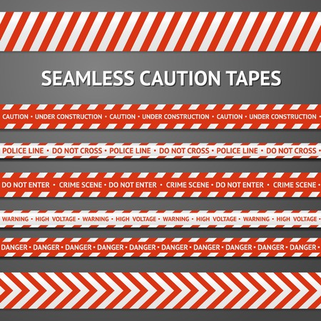 barrier tape: Set of red and white seamless caution tapes with different signs. Police line, crime scene, high voltage, do not cross, under construction etc.