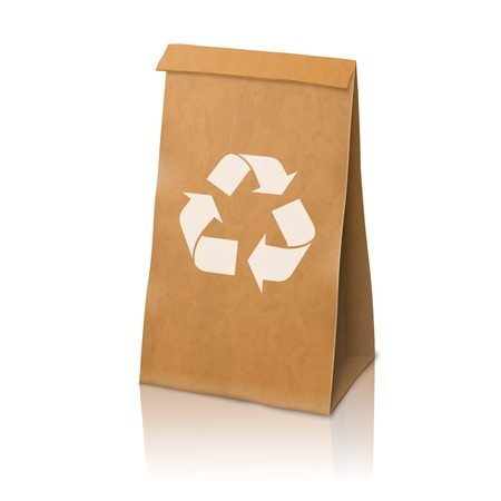 coffee sack: Blank craft vector realistic paper packaging bag with recycle sign Illustration