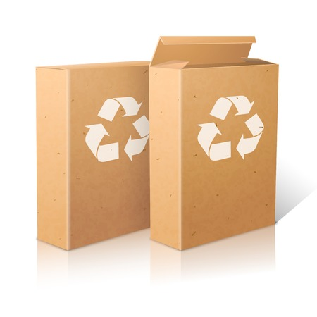 ecologic: Two realistic white blank paper ecologic craft packages with recycle sign