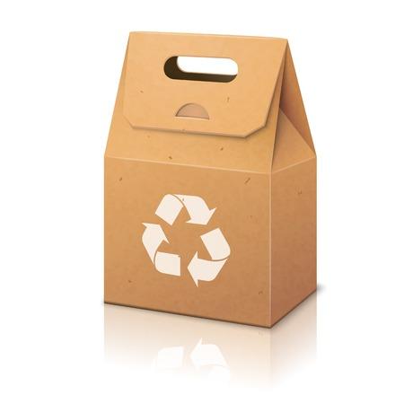 Weißes Blatt Papier ökologisch Handverpackungsbeutel mit Recycling-Zeichen und zu handhaben Standard-Bild - 35694741