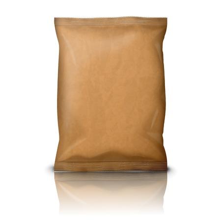 Blank realistische Kraftpapier Snack Pack isoliert auf weiß Standard-Bild - 35694743