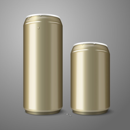 ml: Two blank golden beer cans isolated on gray background