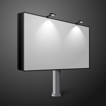 blank billboard: Vector city billboard with lamps, isolated on dark background.