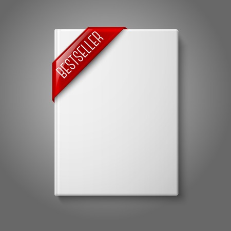 book shop: Realistic white blank hardcover book, front view with red best seller corner ribbon Illustration