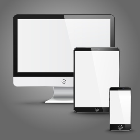 palmtop computer: Set of all size screen devices for site preview - computer, tablet, phone. Vector Illustration
