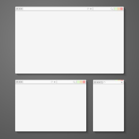 web browser: Set of all size browsers for site preview - computer, tablet, phone sizes. Vector
