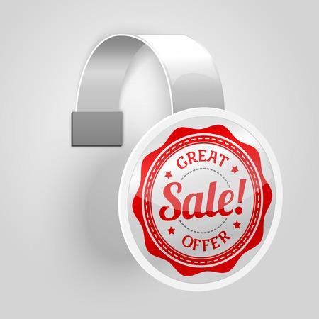 wobbler: White plastic wobbler with red sale label. Vector Illustration