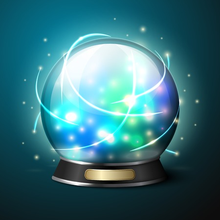 3d ball: Vector bright glowing crystal ball for fortune tellers.