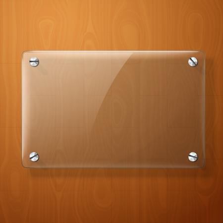 puerta: Placa de vidrio del vector para sus signos, en el fondo de madera.
