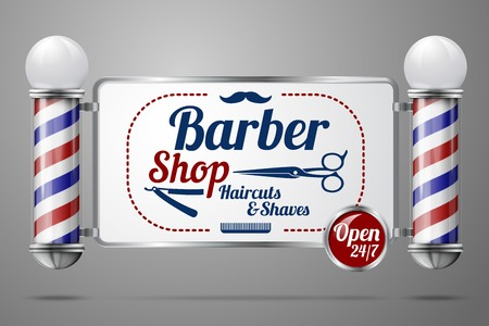 hairdressers: Two old fashioned vintage silver and glass barber shop poles holding Barber Sign.