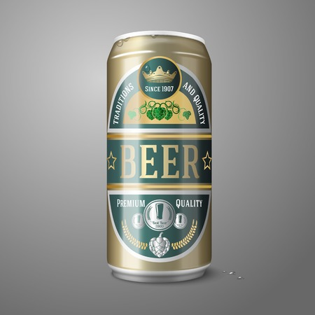 Golden beer can with label, isolated on gray background Vector