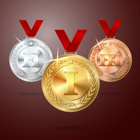 bronze medal: Vector Golden, Silver and Bronze medal set with red ribbons. vector Illustration