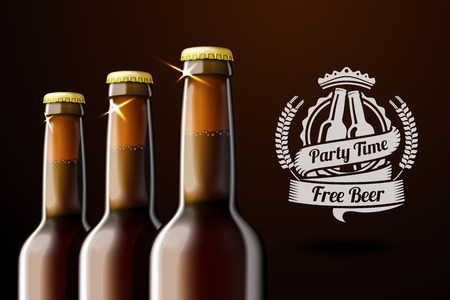 Banner for beer adwertisement with three realistic brown bottles