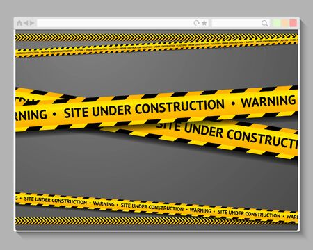 Caution tape in browser with words - Site Under Construction. Vector