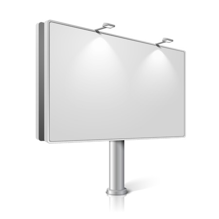 billboard blank: Vector city billboard with lamps, isolated on white background.