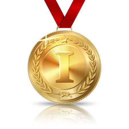 primer lugar: Vector de oro medalla de primer lugar con la cinta roja