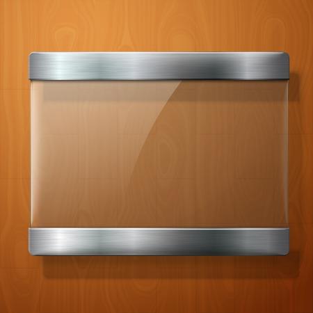 Glazen plaat met metalen houders, voor uw tekenen, op houten achtergrond.
