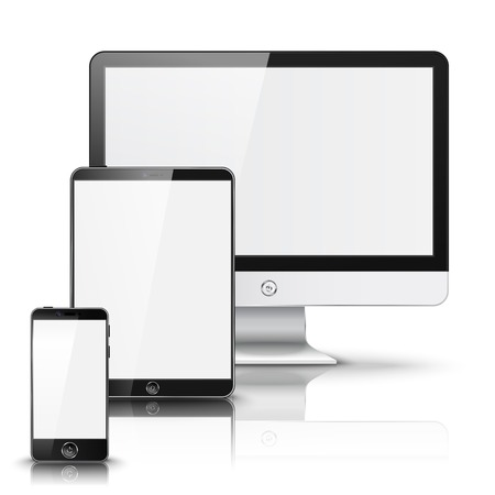 Set of all size screen devices for site preview - computer, tablet, phone sizes, isolated on white background with reflection. Vector