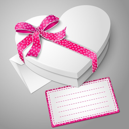 velvet ribbon: Vector realistic blank white heart shape box with envelope and message card for your text.