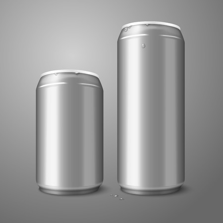 ml: Two blank aluminium beer cans isolated on gray background.