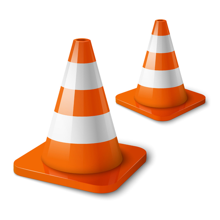 traffic cone: Realistic vector - orange road cones with stripes.